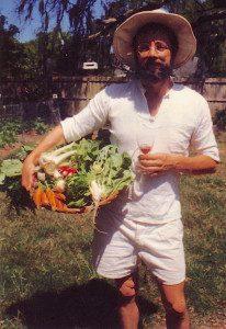 An older photo of me harvesting vegetables I grew and enjoying wine I made.