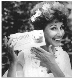 Dena Dietrich as Mother Nature. Chiffon was discontinued in North America in 2002.
