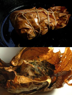 Mia Wasilevich using the fragrant sycamore leaves as a wrap to keep lambsquarter seed stuffed rabbit leg moist.